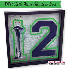 DIY Seahawks Inspired Space Needle and 12th Man Shadow Box | #SeahawksFan #GoHawks #crafts
