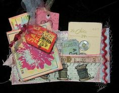 Sewing-themed mini book with tags.