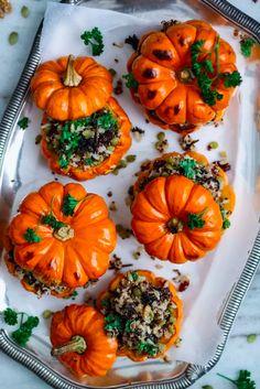 11 easy vegan Thanksgiving recipes that everybody will love: stuffed mini pumpkins Pumpkin Dishes, Pumpkin Soup, Vegan Pumpkin, Pumpkin Recipes, Pumpkin Jack, Little Pumpkin, All You Need Is, Vegan Thanksgiving, Mini Pumpkins