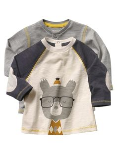 Baby Boy Pack of 2 T-shirts GREY LIGHT SOLID WITH DESIGN