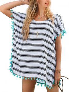 Walkingon Womens Stripe Bathing Suits Tassel Cover Ups Swimwear Wholesale  Site:www.walkingon.com