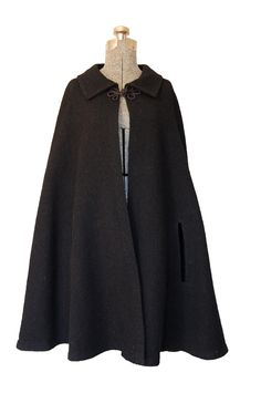 Vintage 1960s 60s Cape - Black wool Mod Long Cape Jacket Outerwear Small Medium