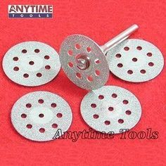 Anytime Tools 5 DIAMOND CUT-OFF WHEELS GLASS ROCK LAPIDARY DISC SAW for ROTARY TOOLS - Cut glass, stone, and other hard materials. Useful in tight places. Industrial diamonds will last longer and cut better than other abrasives. Nickel plated disc. P