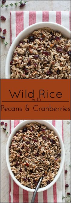 Cranberry Pecan Wild Rice makes a nice gluten-free alternative to stuffing. I make this Cranberry Pecan Wild Rice when I want something a little bit fancier than basic Rice Pilaf or Roasted Potatoes. It pairs perfectly with Slow-cooker Cornish Game Hens w Wild Rice Recipes, Fall Recipes, Holiday Recipes, Recipes Dinner, Christmas Recipes, Yummy Recipes, Holiday Ideas, Vegetarian Recipes, Healthy Recipes