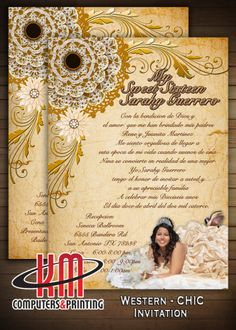 Western Chic Invitation 5x7  Wedding - XV Años - Bridal Shower - Birthdays - Sweet 16 Digital file ( U print) $25 or Printed available Contact Kmprintsa@yahoo.com
