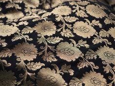 Black and Gold Silk Brocade Fabric by Yard, Motifs Weaving - Indian Silk, Dresses Fabric - Pure Banarasi Silk Fabric