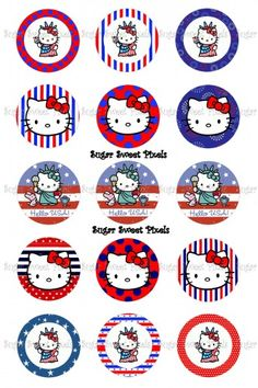 Patriotic Hello Kitty Inspired 1 inch circle Bottlecap Images