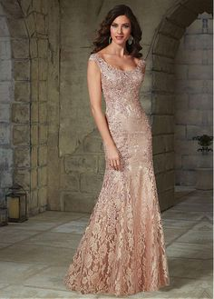 Elegant Lace Scoop Neckline Sheath Mother of The Bride with Beaded Lace Appliques
