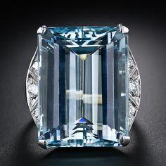 Large Mid-Century Aquamarine and Diamond Ring - 30-1-4238 - Lang Antiques