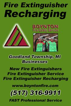 Fire Extinguisher Recharging Goodland Township, MI.  (517) 316-9911 Check out Boynton Fire Safety Service.. The Complete Source for Fire Protection in Michigan. Call us Today!