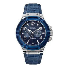 Guess W0040G7 Rigor - Horloge - 45.0 mm - Blauw