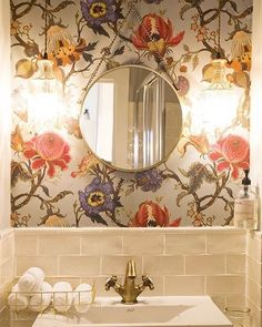 A new Monday morning. A R T E M I S wallpaper in Dove Grey is a stunning addition to this bathroom.  @barbaraaurell