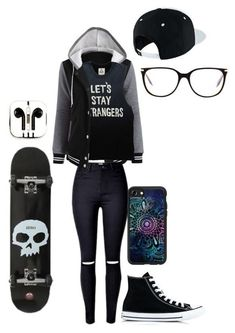 A fashion look from January 2017 featuring baseball jackets, ripped jeans and black shoes. Browse and shop related looks. Cute Emo Outfits, Bad Girl Outfits, Casual School Outfits, Scene Outfits, Punk Outfits, Tomboy Outfits, Tomboy Fashion, Teen Fashion Outfits, Teenager Outfits