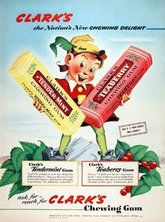 Classic advertising for gum....remember these? And we have Teaberry, Black Jack, Clove and Beemans still today :)