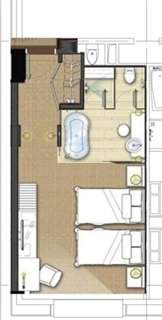 typical w hotel guestroom plans Hotel Floor Plan, House Floor Plans, Rm 1, Hotel Room Design, Apartment Plans, Hotel Interiors, Bedroom Layouts, Room Planning, Bathroom Layout