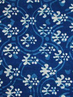 Organic Cotton Fabric Block Print in Indigo Blue and White Textiles, Textile Patterns, Textile Prints, Textile Design, Fabric Design, Pretty Patterns, Color Patterns, Pattern Art, Pattern Design