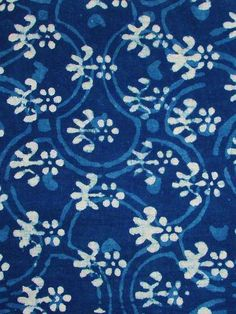 Organic Cotton Fabric Block Print in Indigo Blue and White