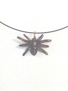 Patina Spider Necklace Goth Black Choker Wire by NorthCoastCottage
