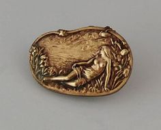 Vintage Brass Button - Oval - Woman Lying