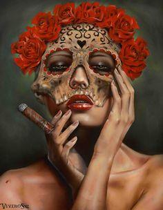 """War Child"" & ""Frida la Muerte"" by Brian Viveros Cindy Sherman, Pinup, Cigarette Girl, Cigar Art, Detailed Paintings, Smoke Art, Chicano Art, Traditional Paintings, Female Portrait"