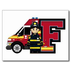 F is for Cartoon Fireman Post Cards