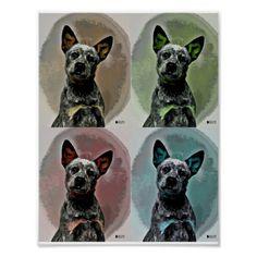 Australian Cattle Dog Blue Heeler Pop Art Poster