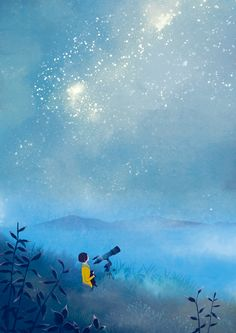 Foggy, surreal, dreamy, stars, sky, grass,  illustration