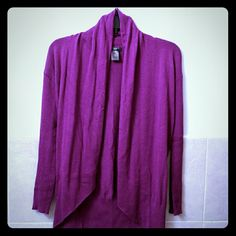 Purple Flyaway Cardigan Petite Beautiful rich purple color, gently used but still in great condition! Petite sizing Ann Taylor Sweaters Cardigans