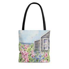 Beach Cottage Weekender Bag Nantucket art Beach House Tote Bag Cape Cod Beach Bag Large Beach Bag Coastal Art Bag Large Tote Bag