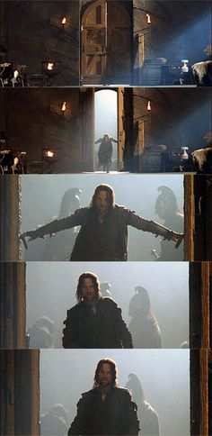 Aragorn: verb, to throw open a pair of adjacent doors simultaneously and forcefully, while striding through purposefully. (Source: Urban Dictionary) The party don't start till I walk in.