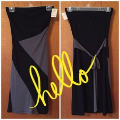 Strapless Gray/Black Jersey Knit Dress This polyester-blend dress is flowy and easily to wear. Elastic band at top of dress. No stains or snags. Make me an offer!!  Charlotte Russe Dresses Strapless