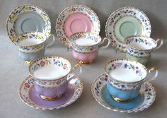 Royal Albert - Rendezvous Series -Series of Six:  Blue, Purple, Yellow, Green, Pink and Turquoise