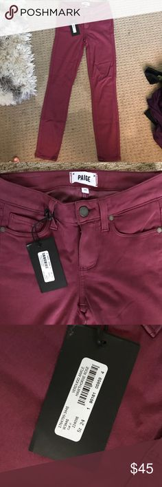 """Paige denim jeans size 24 NWT Brand new with tags. 26"""" inseam . Cranberry in color Paige Jeans Jeans Skinny"""