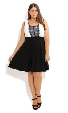 41f7cb5db Lace Panel Skater Dress | Plus Size Dresses | OneStopPlus Garotas,  Feminino, Mulheres,