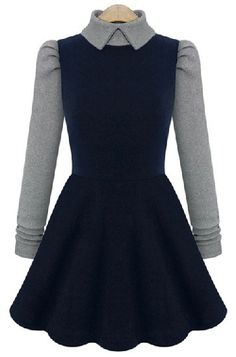 Navy Contrast Long Sleeve Pleated Dress - Sheinside.com