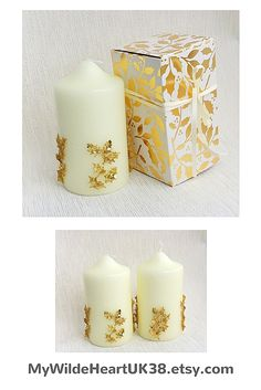 Beautiful gold Christmas candles, for your own festive decor or as a gift for someone special - FREE gift box included.  Click through to my shop for more ideas