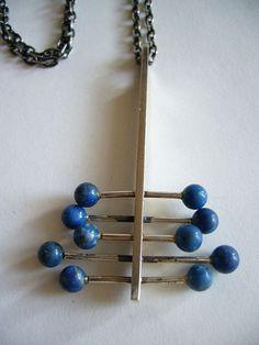 1970s Finnish Modernist Lapis Lazuli Necklace, Pekka Piekainen