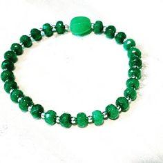 Emerald Mala Bracelet W/ Antique Jade or Rhyolite Guru Bead