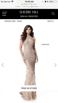 Sherri Hill nude lace prom dress