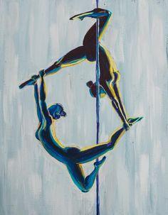 Daring Duo  Original Painting of Pole Dancers
