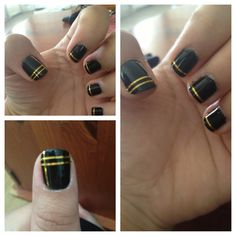 Black and gold! Nail art with nail tape