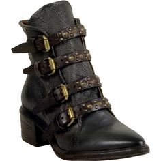 A.S.98 Frankie Women's Ankle Boot ($375) ❤ liked on Polyvore featuring shoes, boots, ankle booties, smoke, studded booties, leather bootie, leopard print ankle boots, short boots and strappy ankle boots