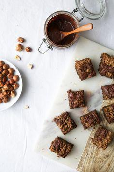 coffee blondies with homemade nutella (vegan/gf)