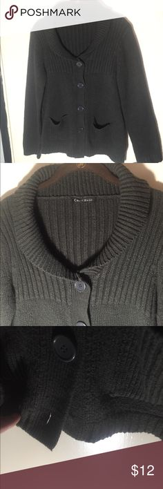 Charcoal grey sweater cardigan Charcoal grey women's cardigan/sweater. One missing button on bottom and has belt loop, but no belt. Heavier sweater, but super cute! Good shape gently used.   Clothes come from a smoke& pet friendly home. All items washed and packed prior to sale. carol rose Sweaters Cardigans
