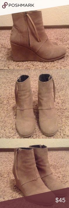 Toms Wedges These are a pair of Toms Desert High Wedges boots. Worn a few times but in very good condition. Color Taupe Toms Shoes Wedges