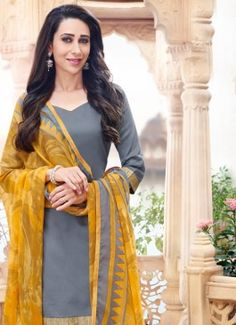 Refreshing Grey & Yellow Coloured unstitched #PunjabiPatialaSalwarKameezSuitDesignonlineShoppingIndia