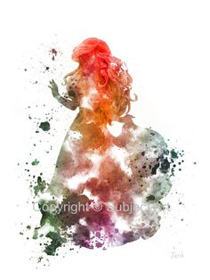 The Little Mermaid, Ariel ART PRINT illustration, Disney, Princess, Mixed Media, Home Decor, Nursery, Kid