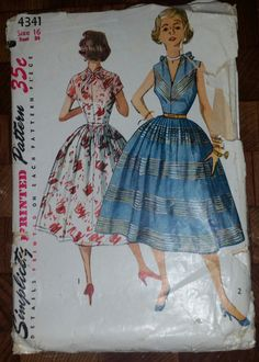 1950s Dress Pattern ~ Fitted Bodice with Deep V Neckline ~ Full Skirt  ~ Sleeveless or Short Sleeved ~ Bust 34 ~ Vintage Simplicity 4341 by VivsVintageSewShop on Etsy