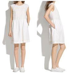 Madewell linen sandwave dress in white xs Airy linen. Embroidery inspired by the edging on a vintage handkerchief. Pure summer ease. This dress is breezy and comfortable. Plus it has pockets!  Good used condition. It has some light wear under the arms, but is not noticeable when on. See last photo for detail. Madewell Dresses Mini