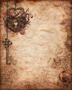 Sepia parchment lock & key